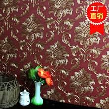欧式奢华3d花大马士革墙纸防水pvc深压纹客厅饭店电视背景墙壁纸T