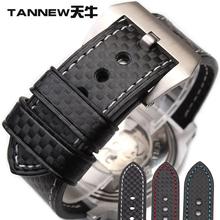 天牛手表配件碳纤纹表带真皮代用沛纳海汉米尔顿2022mm