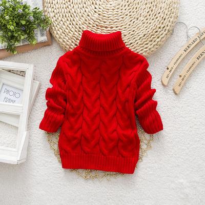 冬装童毛衣女童男童打底衫高领针织衫儿童白色毛衣黑色红色3-45岁