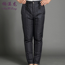 Men's middle-aged and old-fashioned down pants men wear thin winter plus fertilizer to increase men's high waist men's wear large size trousers