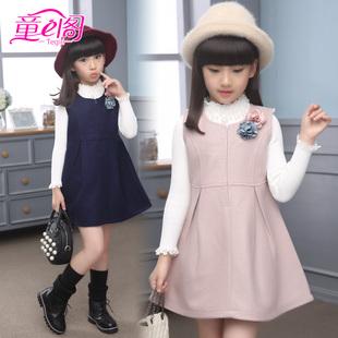 女童秋冬装连衣裙儿童冬款背心裙小女孩冬季时尚羊毛呢子马甲裙子