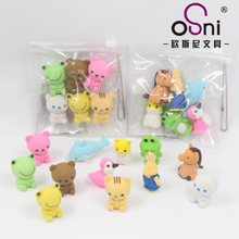 Creative cartoon cute children animal eraser students wipe clean student supplies wholesale package 6