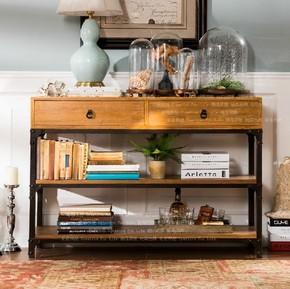 美式复古LOFT实木书柜做旧铁艺书架松木置物柜收纳架展示柜斗柜
