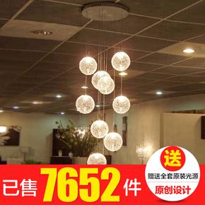 楼梯吊灯现代简约餐厅艺术客厅创意个性别墅复式旋转楼梯灯长吊灯