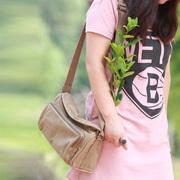 蓝格帆布包包2018新款女包 韩版斜跨包女士小包复古式学生潮挎包