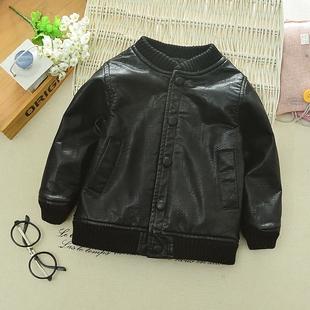4男童加厚皮衣外套冬装小童宝宝加绒皮夹克1-5岁韩版儿童保暖上衣
