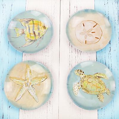 欧式海洋系列仿瓷密胺小碟子 耐摔加厚小碟塑料骨头碟小吃碟小盘