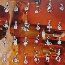 wt014镂空爱心雕花银球项坠配件挂件diy银色手链串珠玲珑球吊坠