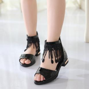 拉丁舞鞋小女童凉鞋夏季公主鞋新款鱼嘴中大童小学生儿童鞋子低跟