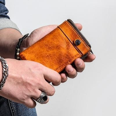 钱包男短款真皮钱夹青年复古做旧拉链零钱包搭扣竖款牛皮男士皮夹