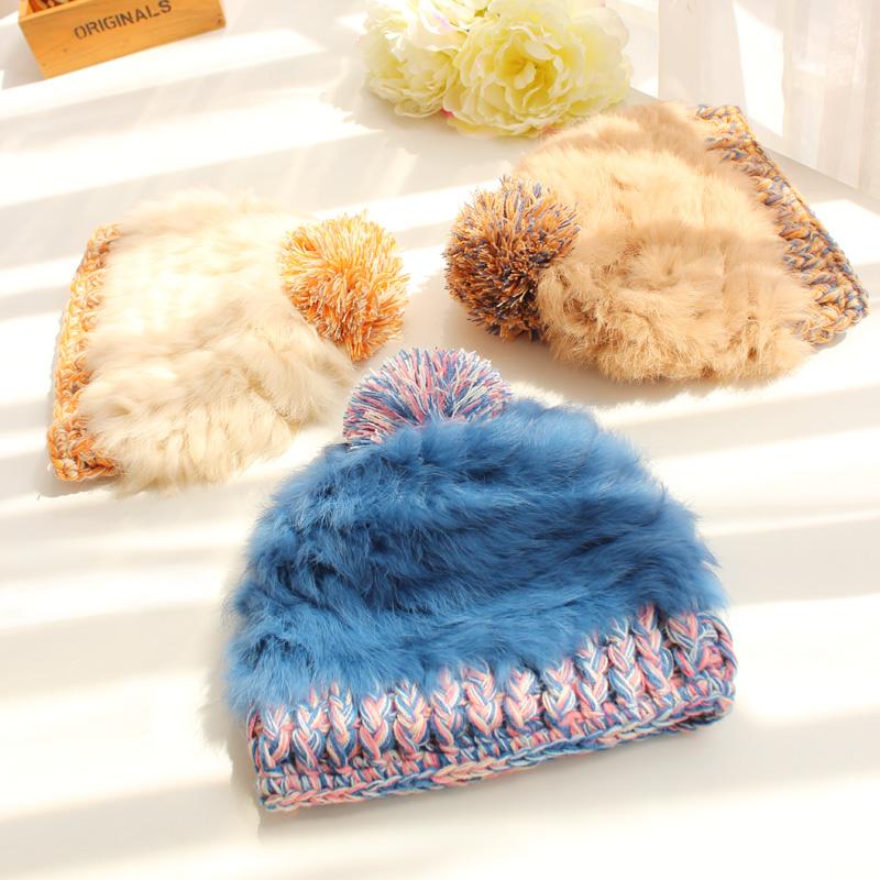 彩色大球球兔毛皮草帽子女秋冬天保暖加厚护耳帽韩国针织毛线帽潮5元优惠券