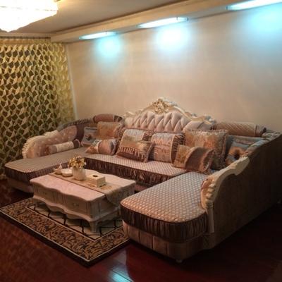 欧式布艺沙发组合U型双贵妃布沙发大小户型客厅家具简欧转角沙发牌子口碑评测