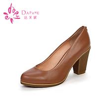 Daphne/达芙妮女鞋专柜正品时尚高跟女士单鞋粗高跟牛皮女单鞋