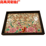 Pure hand-painted porcelain tea plate rectangular flower bird series tray tea collection tray solid wood household tea set tea plate pad