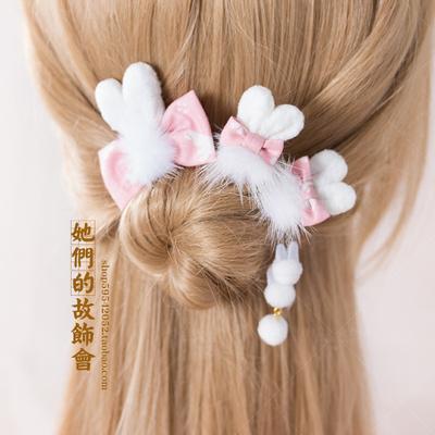 软妹兔子发夹DIY水貂毛球手工头饰手工发夹蕾丝日系发圈软妹发饰