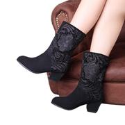 正品众踱春季花朵新款粗跟短靴中跟欧美春款中筒靴女靴子磨砂靴子