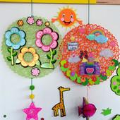 幼儿园吊饰空中装饰教室材料室内外走廊DIY手工布纸绳编织挂饰