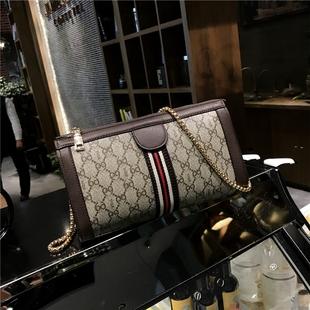 2018新款欧美时尚女包印花信封包彩带手拿包女士链条包斜挎单肩包
