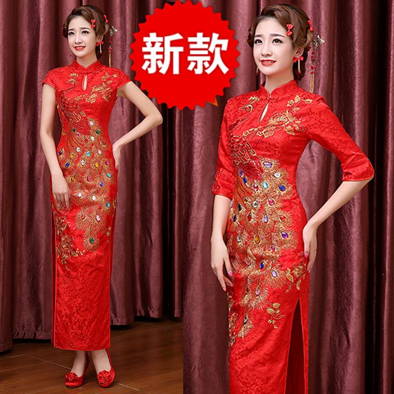 2018 new catwalk cheongsam long show Chinese style red Chinese knot wedding