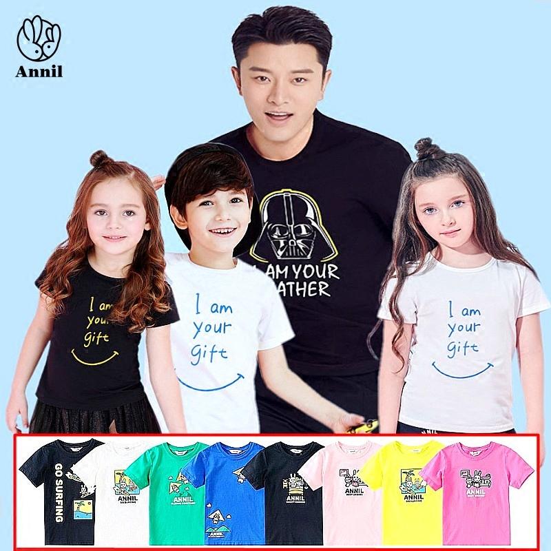 安奈儿童装新款男童女童短袖T恤文化衫家庭亲子装AM721643
