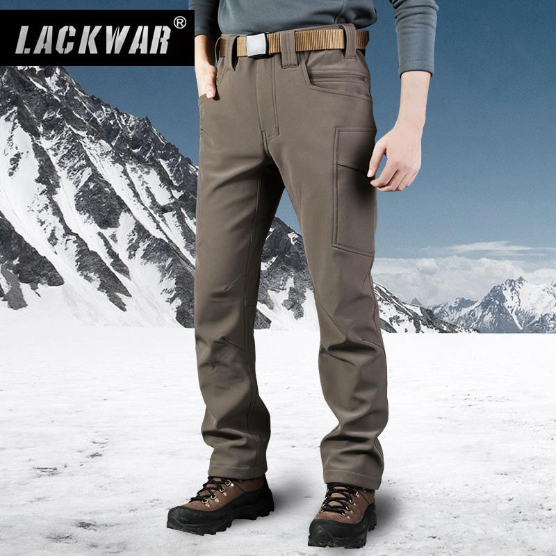 Lackwar户外软壳裤男 加厚保暖冲锋衣裤子 冬季抓绒滑雪裤登山裤