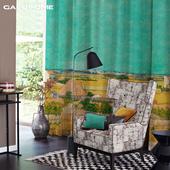 荷兰梵高博物馆正版授权 丰收向日葵6款绒布窗帘定制客厅卧室阳台