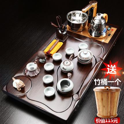 实木茶盘一电磁炉茶台茶具套装琨德黑檀