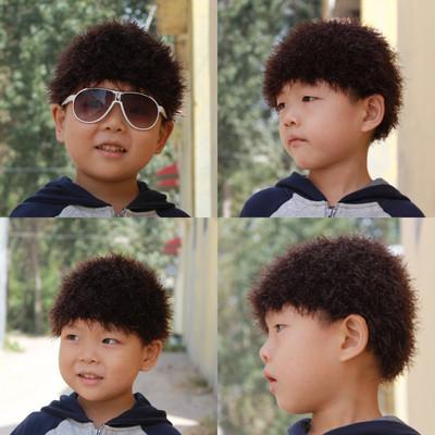 新款儿童假发帽 手工毛线帽 编织造型宝宝帽子 棕色秋冬款