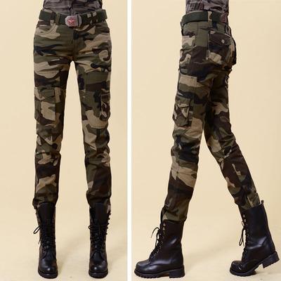 新款迷彩裤水兵舞情侣休闲裤 户外工装女裤 多口袋修身显瘦长裤