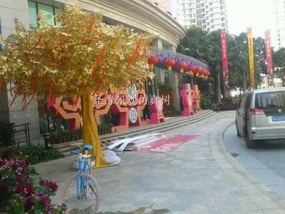 仿真许愿树 金色许愿树 人造大型落地绿植 酒店商场庭院摆放美观