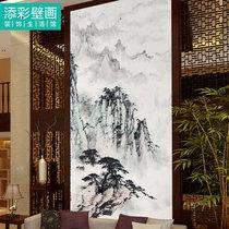 玄关水墨国画墙纸竖版中式家居客厅壁画手绘过道挂画定制墙布山水