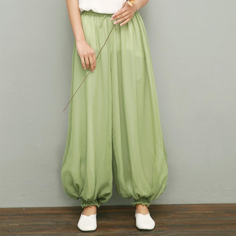 春夏仙气中式复古原创设计瑜伽禅舞拍摄茶服禅服大码灯笼裤 豆蔻