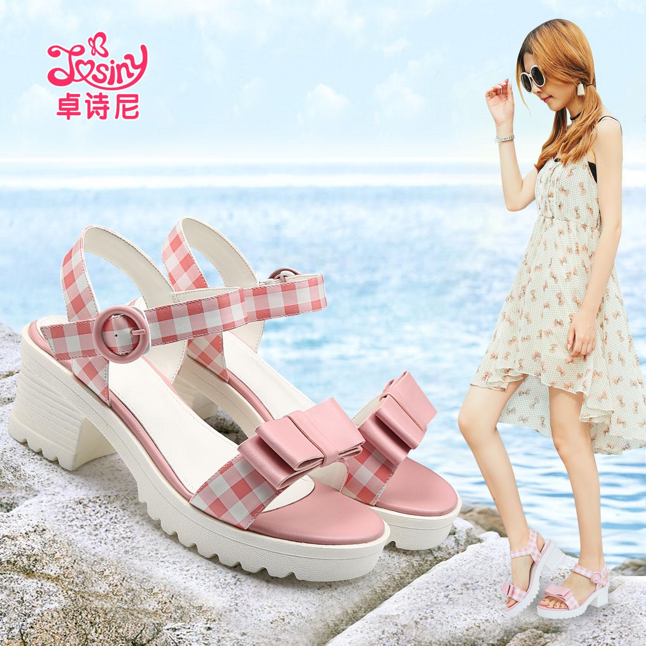 卓诗尼夏季新款甜美蝴蝶结搭扣高跟修面粗跟凉鞋女162135130