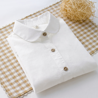 早春纯棉长袖白衬衫韩风女装百搭打底衫内搭衬衣花纽扣日系小清新