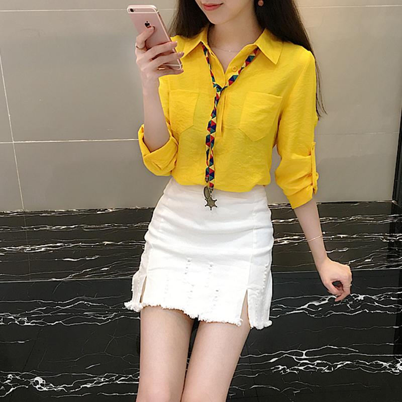 2018春夏新款韩版长袖衬衫时尚套装女修身牛仔半身短裙气质两件套