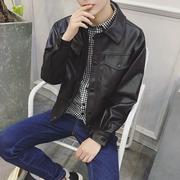 秋季男士机车皮衣韩版宽松青年男装休闲PU皮夹克外套帅气学生潮流