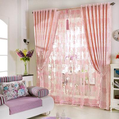 婚房窗帘 卧室温馨结婚红色遮光简约现代高档奢华粉色窗帘公主粉新款推荐