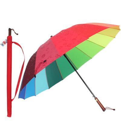 安妮雅双人长柄自动雨伞晴雨伞遇水开花男女创意彩虹伞超大暴雨伞