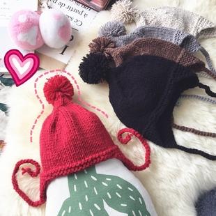 可爱儿童毛球护耳毛线帽子加厚保暖秋冬天针织帽韩版男女宝宝套头
