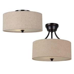 美式吸顶灯卧室客厅布艺吸顶灯led北欧新中式吸顶灯乡村简约圆形