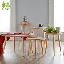 实木北欧茶几简约现代小圆桌沙发边几角几小茶几圆几阳台玄关桌子