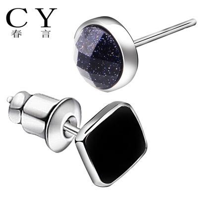 韩版时尚 925银男士耳钉 单只潮个性 黑色饰品圆方形平面紫砂耳环