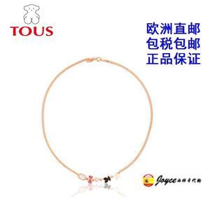 西班牙代购 TOUS桃丝熊 女士纯银18k镀金镶宝石项链512792510