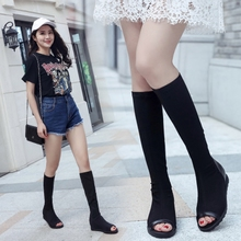 Spring and Autumn New Fish-billed Boots for Women with Flat Bottom and Slim Elastic Cloth Boots