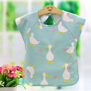宝宝罩衣吃饭衣儿童防水围兜纯棉婴儿半袖 围裙小孩饭兜兜 夏季薄款