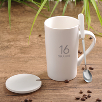 Creative Ceramic cup large capacity water cup mug Simple couple cup strap Spoon coffee cup milk Cup custom