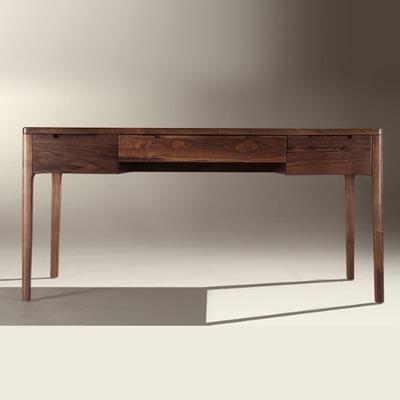 北欧简约实木写字台北美黑胡桃木书桌电脑桌原木大板工作台办公桌