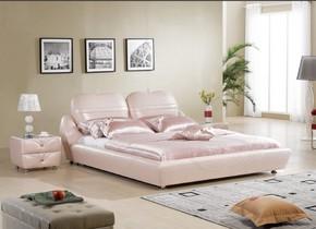 次卧主卧家具主人床榻榻米太子床皮艺床 真皮床软床粉色公主床