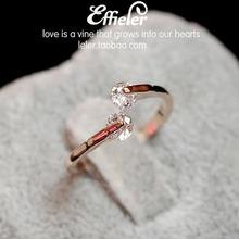 日韩新款 时尚水晶甜美可爱桃心复古学生潮人 女开口锆石戒指指环