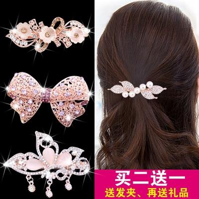 珍珠发夹韩国头饰成人百搭优雅顶夹小发卡简约弹簧夹子水晶饰品女